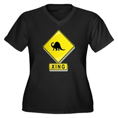Brontosaurus XING Women's Plus Size V-Neck Dark T-