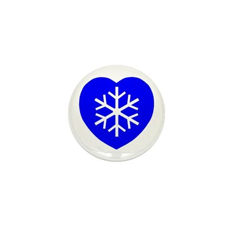 Love Blue Snowflake Heart Mini Button (100 pack)