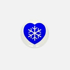 Love Blue Snowflake Heart Mini Button (100 pack)