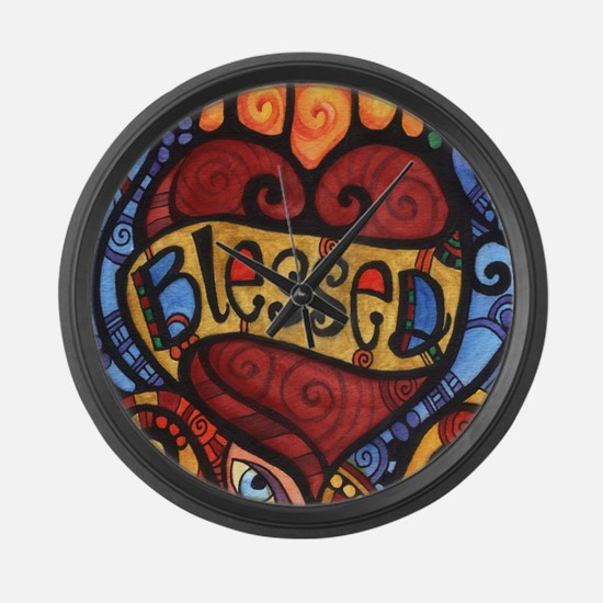 Blessed Flaming Heart Large Wall Clock
