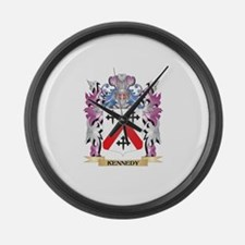 Kennedy- Coat of Arms - Family Cr Large Wall Clock