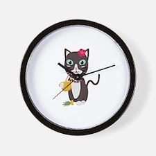 Hawaii cat with pineapple Wall Clock