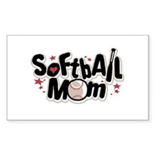 SOFTBALL MOM Rectangle Decal