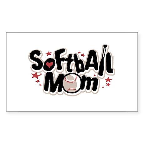 SOFTBALL MOM Rectangle Sticker
