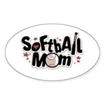 SOFTBALL MOM Oval Sticker