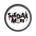 SOFTBALL MOM Wall Clock