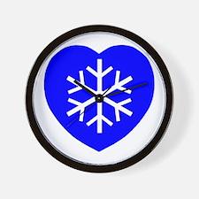 Love Blue Snowflake Heart Wall Clock