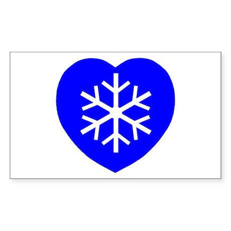 Love Blue Snowflake Heart Rectangle Sticker