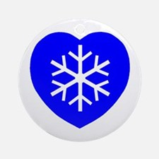 Love Blue Snowflake Heart Ornament (Round)