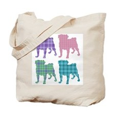 4 Plaid Pugs Tote Bag