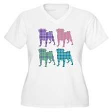 4 Plaid Pugs T-Shirt