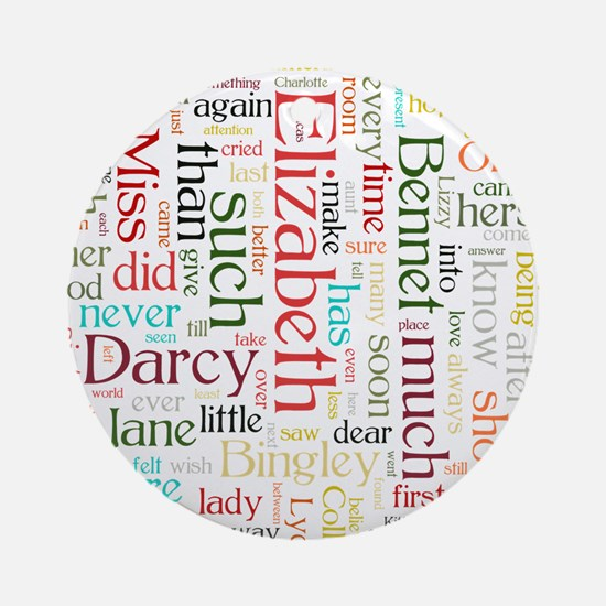 Pride & Prejudice Word Cloud Round Ornament