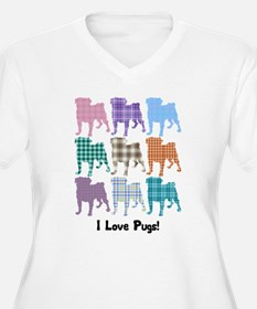 I Love Plaid Pugs T-Shirt