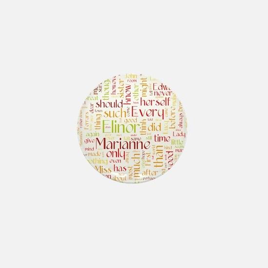 Sense & Sensibility Word Cloud Mini Button