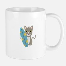 Cat with surfboard Mugs