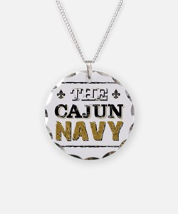 the Cajun Navy blck and gold Necklace