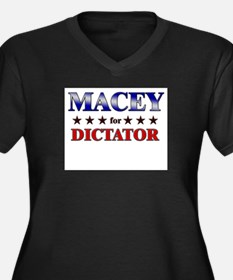 MACEY for dictator Women's Plus Size V-Neck Dark T