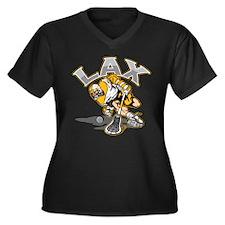 Lacrosse Player Gold Uniform Women's Plus Size V-N