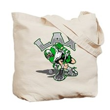 Lacrosse Player Green Uniform Tote Bag