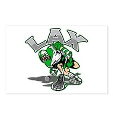 Lacrosse Player Green Uniform Postcards (Package o