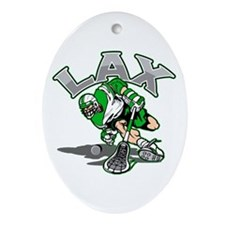 Lacrosse Player Green Uniform Oval Ornament