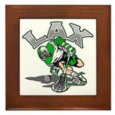 Lacrosse Player Green Uniform Framed Tile