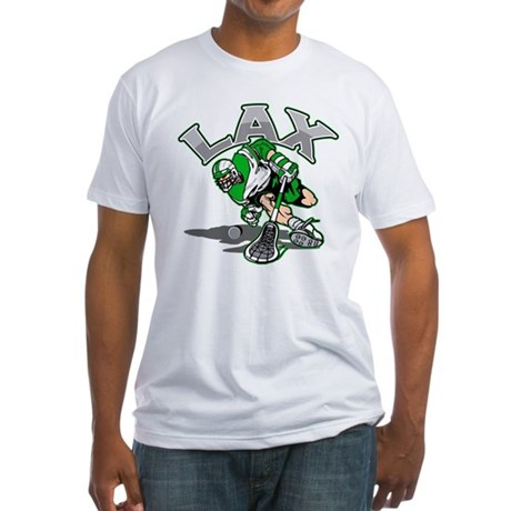 Lacrosse Player Green Uniform Fitted T-Shirt