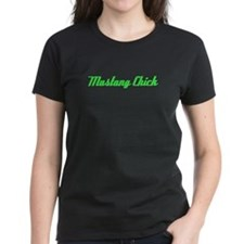Mustang Chick in Green Tee
