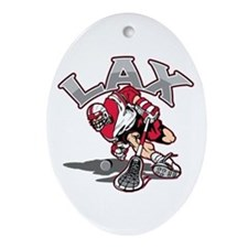 Lacrosse Player Red Uniform Oval Ornament