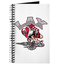 Lacrosse Player Red Uniform Journal
