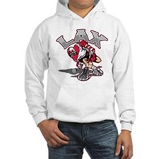 Lacrosse Player Red Uniform Hoodie