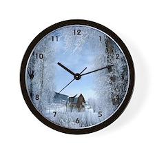 Cabin in Winter Wall Clock