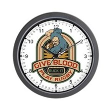 Give Blood Play Rugby Logo Wall Clock