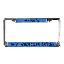 Rescue Dog Akita License Plate Frame