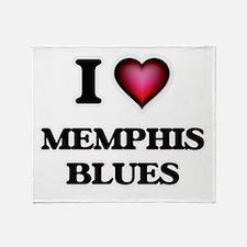 I Love MEMPHIS BLUES Throw Blanket