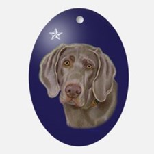 Weimaraner Xmas Star Oval Ornament