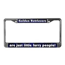 Furry People Golden Retriever License Plate Frame