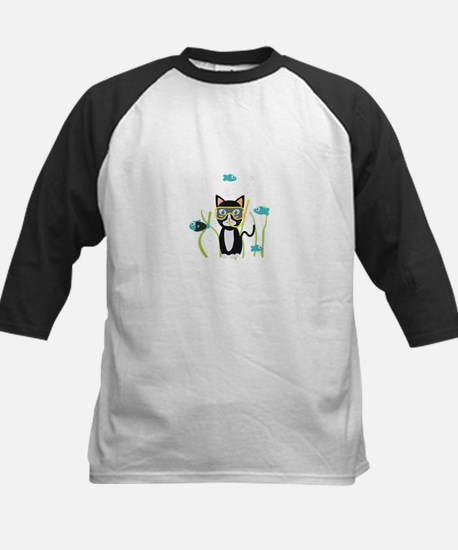 Underwater diving cat with fish Baseball Jersey