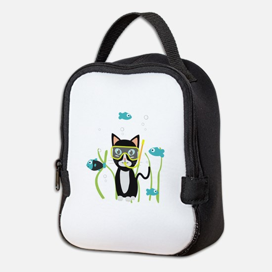 Underwater diving cat with fish Neoprene Lunch Bag