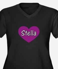 Stella Women's Plus Size V-Neck Dark T-Shirt