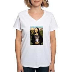 Mona / Shih Tzu(br&w) Women's V-Neck T-Shirt