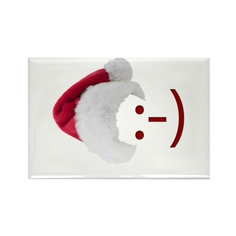 Smiley Emoticon - Santa Hat Rectangle Magnet (10 p