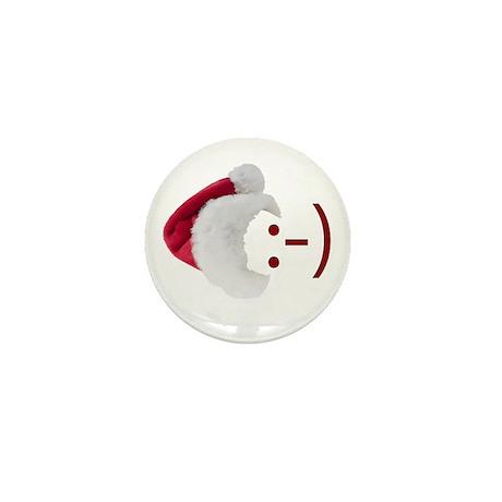 Smiley Emoticon - Santa Hat Mini Button (10 pack)