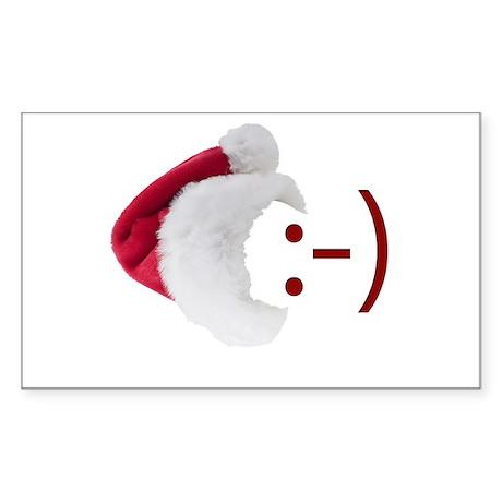 Smiley Emoticon - Santa Hat Rectangle Sticker