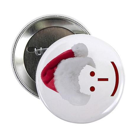 "Smiley Emoticon - Santa Hat 2.25"" Button (10 pack)"