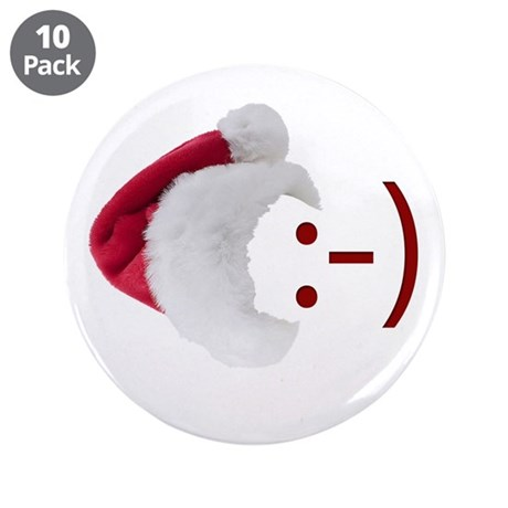 "Smiley Emoticon - Santa Hat 3.5"" Button (10 pack)"