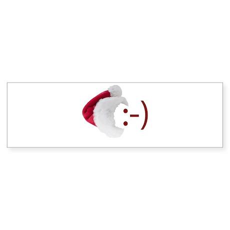 Smiley Emoticon - Santa Hat Bumper Sticker