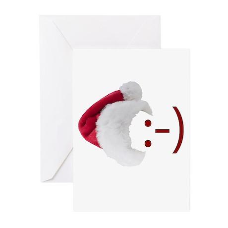 Smiley Emoticon - Santa Hat Greeting Cards (Pk of