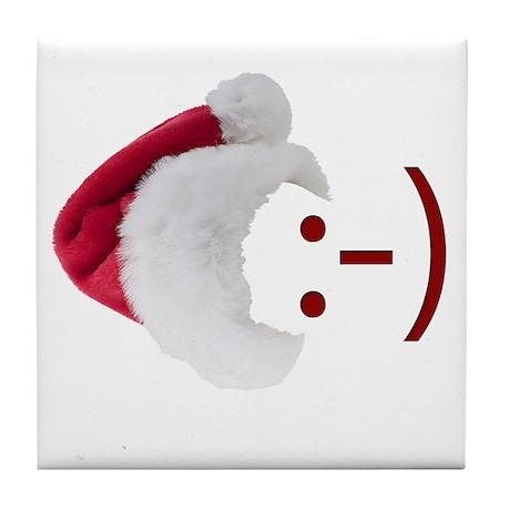 Smiley Emoticon - Santa Hat Tile Coaster