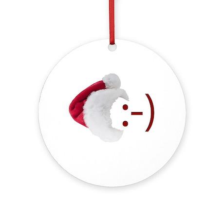 Smiley Emoticon - Santa Hat Ornament (Round)